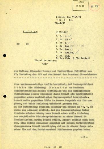 """""""Einzelinformation"""" über eine mögliche Einladung Nikita Chruschtschows durch Willy Brandt"""