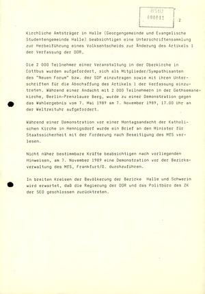 """""""3. Lagebericht"""" zu Demonstrationen im November 1989"""