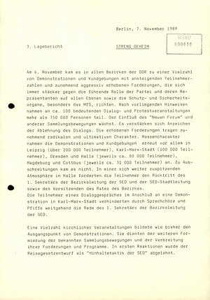 """3. Lagebericht"" zu Demonstrationen im November 1989"