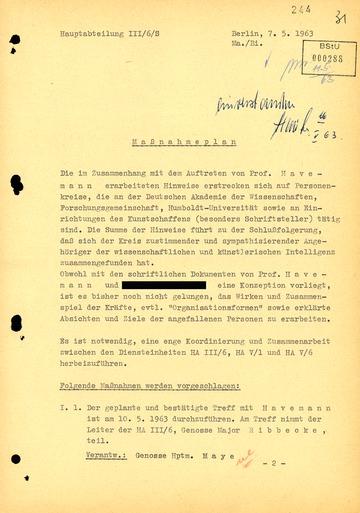 Maßnahmeplan gegen Robert Havemann