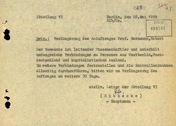 Verlängerung des Abhör-Auftrages gegen Robert Havemann