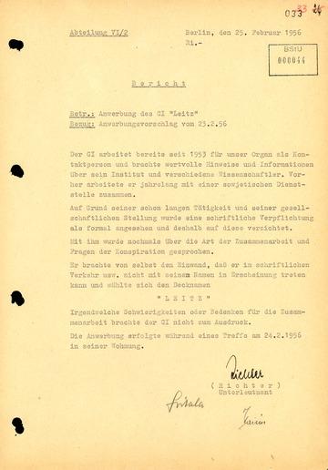 Bericht über die Anwerbung Robert Havemanns als Geheimer Informator