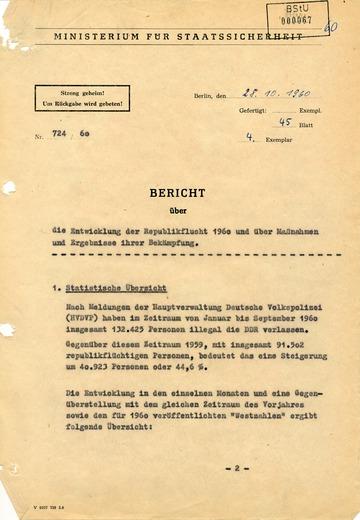 Bericht über die Entwicklung der Republikflucht 1960