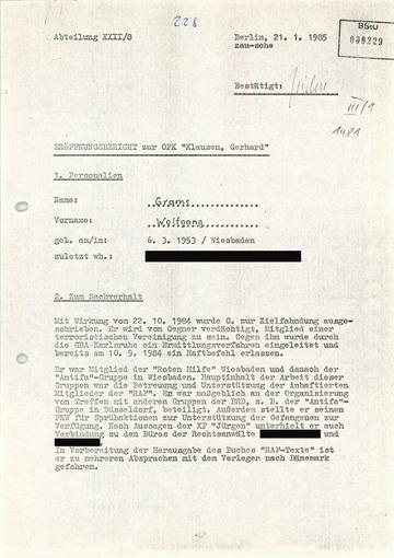 "Eröffnungsbericht zur OPK ""Klausen, Gerhard"" gegen Wolfgang Grams"