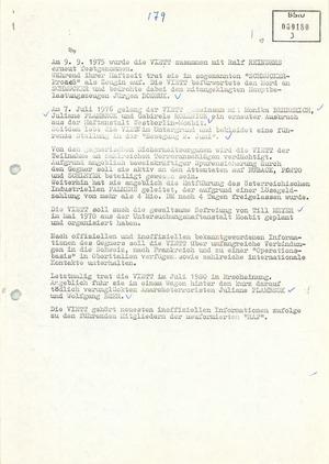 """""""Auskunftsbericht"""" über die RAF-Terroristin Inge Viett"""
