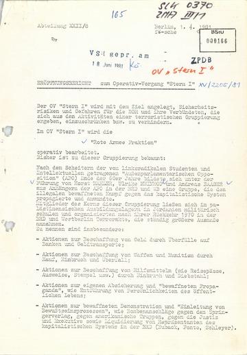 """Eröffnungsbericht zum Operativen Vorgang """"Stern I"""" zur Überwachung von RAF-Mitgliedern"""