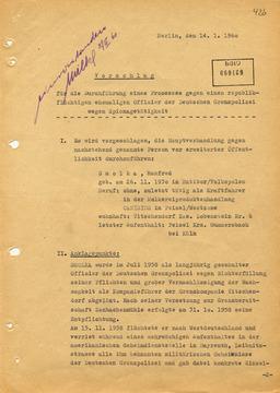 Vorschlag zur Durchführung eines Prozesses gegen den ehemaligen Grenzpolizisten Manfred Smolka
