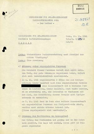 """Wochenbericht nach Durchführung der Aktion """"Festigung"""" im Oktober 1961"""
