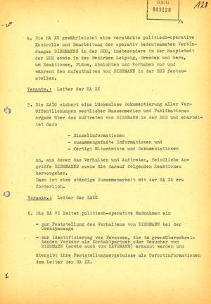 Plan zur Beobachtung Wolf Biermanns während seiner Auftritte in der Bundesrepublik