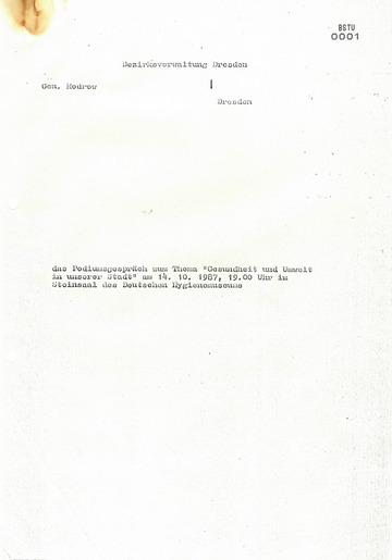 """Information über das Podiumsgespräch zum Thema """"Gesundheit und Umwelt in unserer Stadt"""" am 14.10.1987 im Deutschen Hygiene-Museum Dresden"""