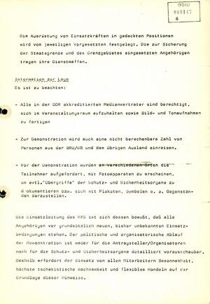 Hinweise zum Einsatz von Stasi-Mitarbeitern für die Demonstration am 4. November 1989 in Berlin