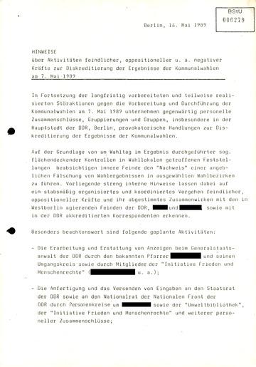 Hinweise über Aktivitäten feindlicher Kräfte zur Diskreditierung der Ergebnisse der Kommunalwahlen 1989