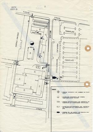 Übersichtskarten der Stasi-Zentrale mit ihren Zugängen für MfS-Mitarbeiter