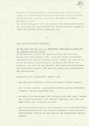 Bericht über die Teilnahme der DDR-Mannschaft an den Spielen der XXIV. Olympiade