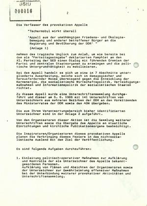 """Befehl zum Vorgehen gegen die Initiatoren des Appells """"Tschernobyl wirkt überall"""""""