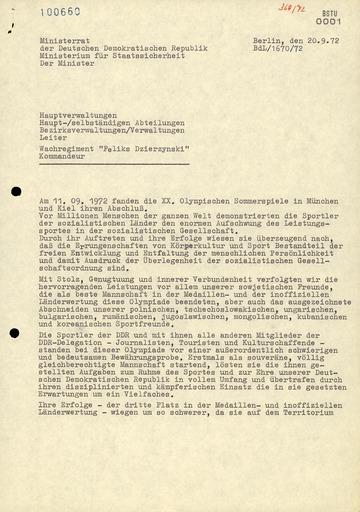 """Dankschreiben Erich Mielkes an alle Bereiche für die Aktion """"Flamme"""""""