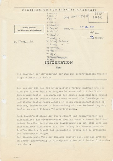 Bericht über Reaktionen der DDR-Bevölkerung zum Treffen zwischen Willi Stoph und Willy Brandt in Erfurt