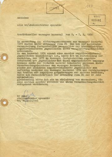 """Fernschreiben an die """"Stellvertreter Operativ"""" der MfS-Bezirksverwaltungen zum Wasunger Karneval 1978"""