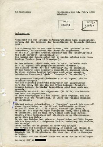 """Bericht eines Inoffiziellen Mitarbeiters über die Initiative """"Sozialer Friedensdienst"""""""