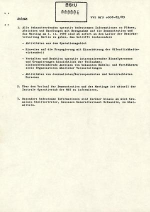 Schreiben Mielkes zur Vorbereitung auf die Demonstration am 4. November 1989 in Berlin
