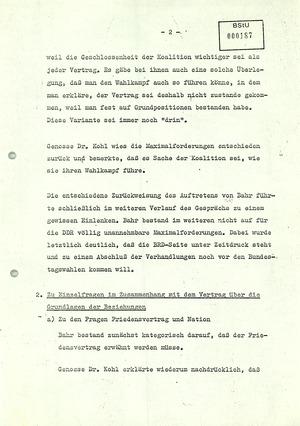Protokoll über ein Gespräch zwischen Michael Kohl und Egon Bahr