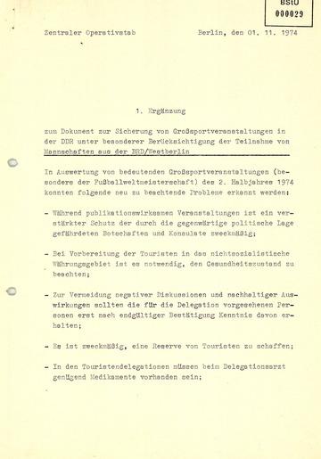 Auswertung der Fußball-Weltmeisterschaft 1974 für die Sicherung zukünftiger Sportveranstaltungen