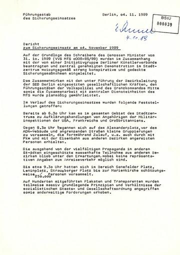 Bericht des Führungsstabes über den Sicherungseinsatz am 4. November 1989