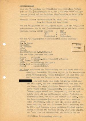 Protokoll der Versammlung des Berliner Anwaltskollegium anlässlich der Abberufung Götz Bergers