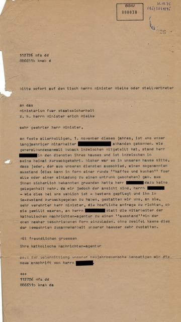 Brief an Mielke wegen eines verschwundenen Agenten