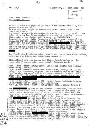 """Bericht des IMS """"Dippelt"""" über den Kirchentag in Wittenberg 1983"""