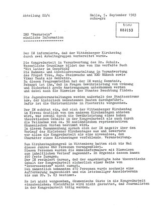 """Bericht des IMS """"Bernstein"""" über den Wittenberger Kirchentag 1983"""