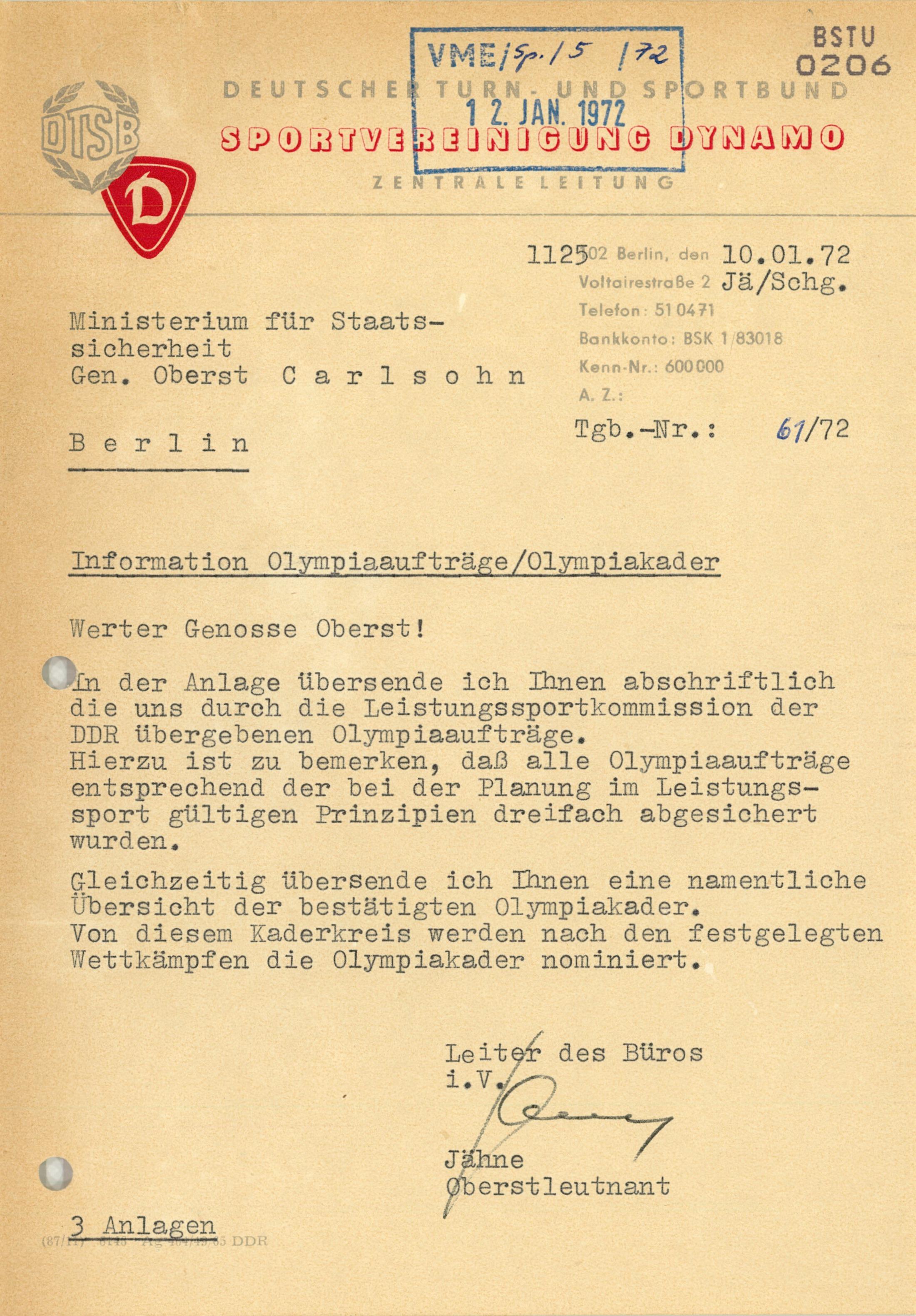 Information Olympiaaufträge/Olympiakader   Mediathek der Stasi ...