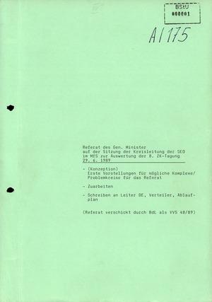 Referat Erich Mielkes zur Auswertung der 8. Tagung des Zentralkomitees der SED
