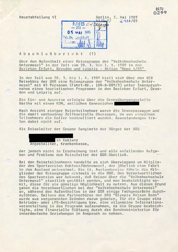 Bericht über den Aufenthalt einer Reisegruppe der Volkshochschule Untermosel in der DDR
