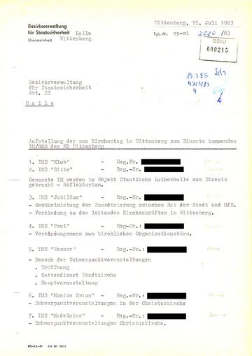 Aufstellung der IM der Kreisdienststelle Wittenberg beim Kirchentag von 1983