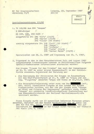 """Quartalseinschätzung"" der Bezirksverwaltung Leipzig zum Zentralen Operativen Vorgang ""Wespen"""