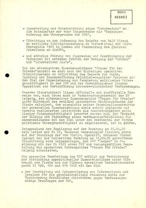 """Eröffnungsbericht zu einem Teilvorgang des Zentralen Operativen Vorgangs """"Wespen"""""""