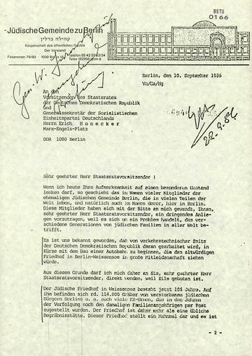 Information über den Besuch des Vorsitzenden der Jüdischen Gemeinde zu Berlin Heinz Galinski beim Staatssekretär für Kirchenfragen Klaus Gysi