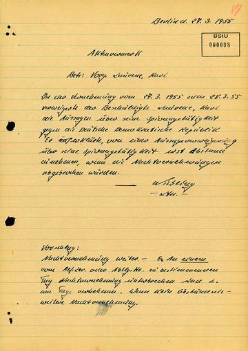 Vermerk über die Geständnisverweigerung von Karl Laurenz