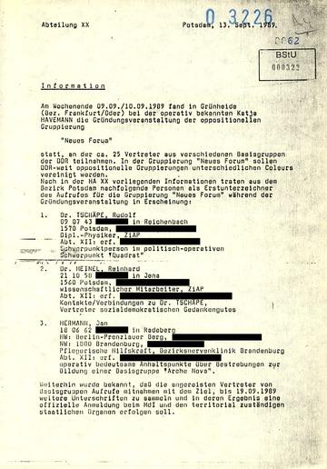 """Information zur Gründungsveranstaltung des """"Neuen Forum"""""""
