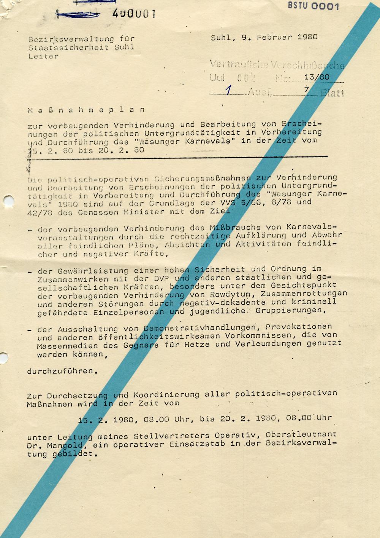 Massnahmeplan Gegen Politische Untergrundtatigkeit Rund Um Den Wasunger Karneval Mediathek Des Stasi Unterlagen Archivs