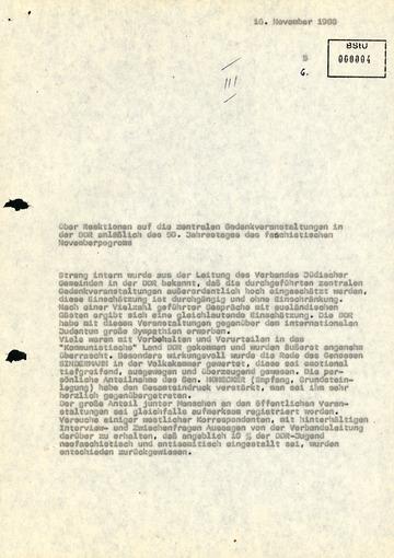 Information über Reaktionen auf die zentralen Gedenkveranstaltungen zum 50. Jahrestag des Novemberpogroms