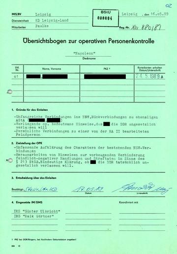 """Übersichtsbogen zur Operativen Personenkontrolle """"Napoleon"""""""