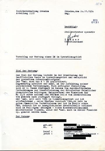 """Vorschlag zur """"Werbung"""" des westdeutschen IM """"Hermann"""""""