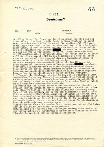 """Beurteilung des westdeutschen IM """"Hermann"""""""