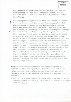 Information über volkswirtschaftlich und sicherheitspolitisch bedeutsame Probleme im Zusammenhang mit dem Volkswirtschaftsplan 1983