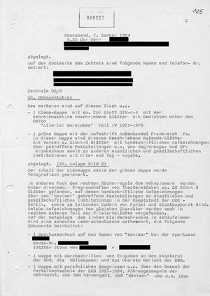 """Bericht über eine konspirative Wohnungsdurchsuchung zum Vorgang """"Revisor"""""""