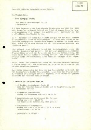 Übersicht der Abteilung XX der Bezirksverwaltung Berlin über jüdische Einrichtungen