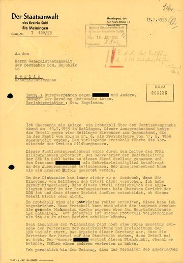 """Schreiben des Suhler Bezirksstaatsanwalts zu einem """"Justizausspracheabend"""" über vier verhaftete Hellinger Bauern"""