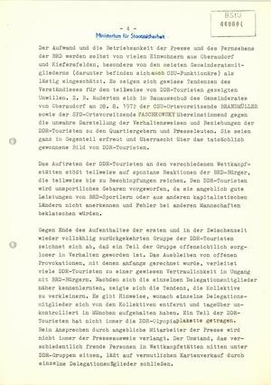 Information über die Haltung der zu den Olympischen Sommerspielen 1972 in München weilenden DDR-Delegation und über gegen sie gerichtete Aktivitäten